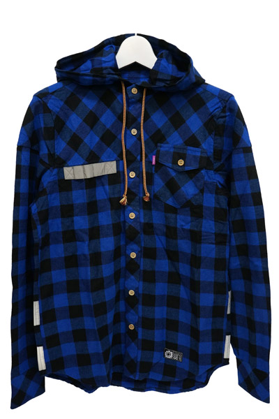 MISHKA (ミシカ) UTILITY HOODED BUTTON UP BLUE