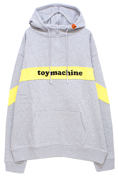 TOY MACHINE TMP19SW10 TOYMONSTER LOGO SWEAT HALF ZIP PARKA GRAY
