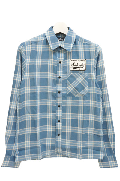 Subciety (サブサエティ) EMBLEM SHIRT L/S-CHECK- BLUE