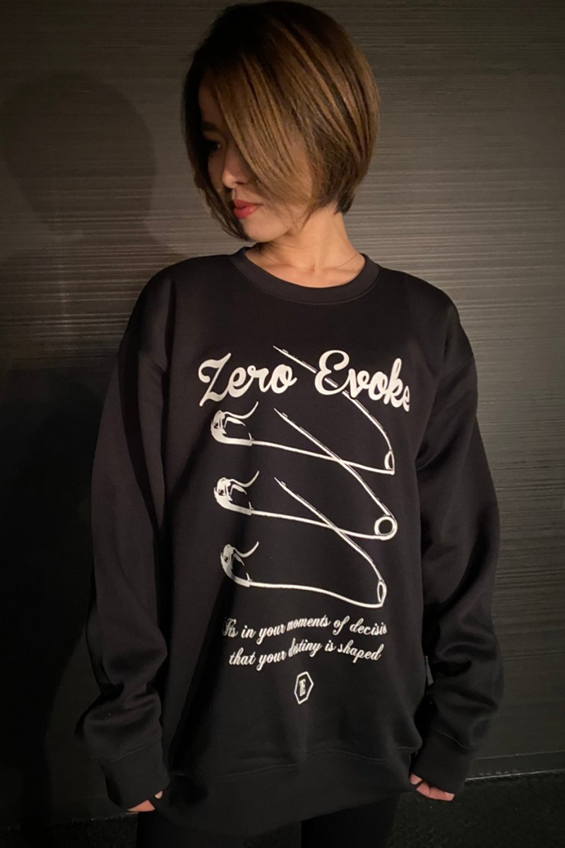 ZERO EVOKE Three Needles Sweat 【BLACK】