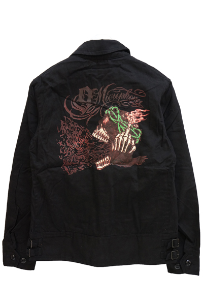NineMicrophones WORK JKT -SHOUT SKULL- BLACK