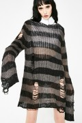 KILL STAR CLOTHING Ash Distress Knit Sweater [B]