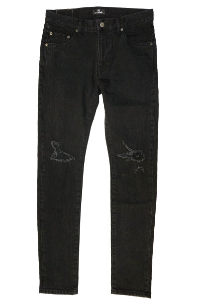 Subciety (サブサエティ) DAMAGE SKINNY DENIM BLACK