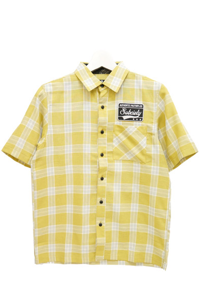 Subciety (サブサエティ) EMBLEM SHIRT S/S-CHECK- YELLOW