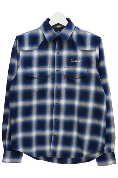 Subciety (サブサエティ) OMBRE CHECK WESTERN SHIRT L/S-Praha- BLUE