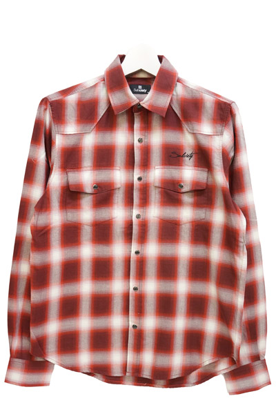 Subciety (サブサエティ) OMBRE CHECK WESTERN SHIRT L/S-Praha- RED