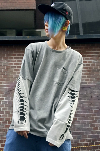 PUNK DRUNKERS 百足ロンTEE GRAY