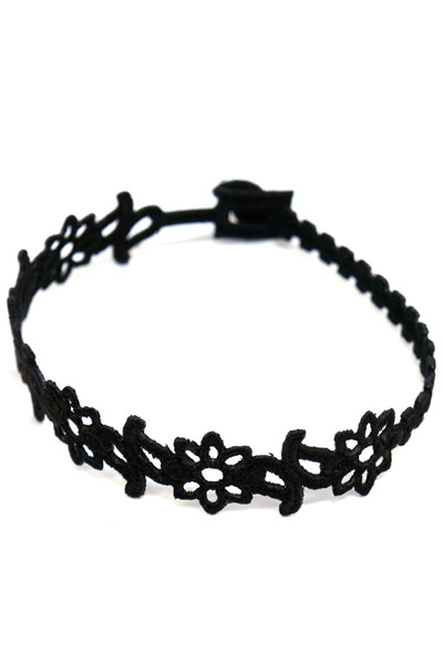 Subciety (サブサエティ) EMBROIDERY BRACELET BLACK