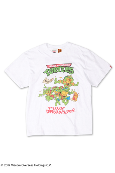 PUNK DRUNKERS 【PDSxTMNT】タートルズTEE WHITE
