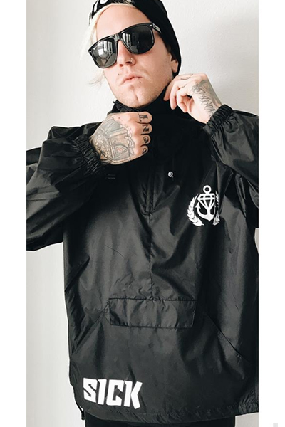 STAY SICK CLOTHING Sick Sport Black Pullover Windbreaker