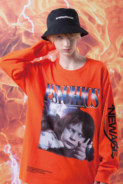 "LILWHITE(dot) LW-19SS-LT02 ""PSY-BOY"" L/S TEE ORANGE"