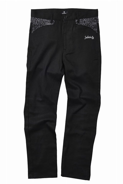 Subciety TAPERED WORK PANTS-PAISLEY- BLACK