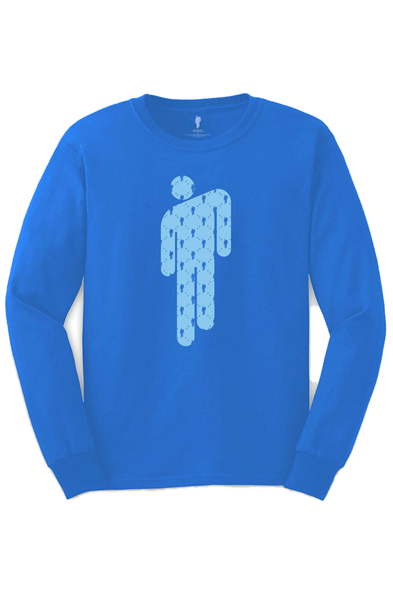 BILLIE EILISH UNISEX LONG SLEEVED TEE: MANINMAN BLUE