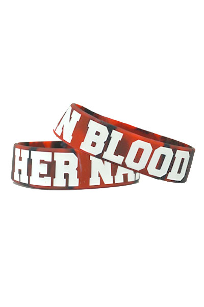 HER NAME IN BLOOD WRISTBAND Red/Black Marble x White