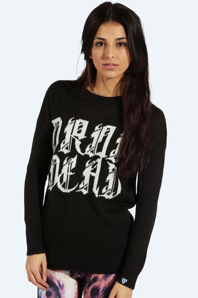 DROP DEAD CLOTHING GRIM KNITTED SWEATER GIRLS