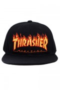 THRASHER 19TH-C17 FLAME LOGO ポリエステルサージ平ツバキャップ BLACK