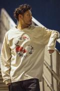【予約商品】GoneR GR28LS002 Rose Arrange Skull L/S T-Shirts Sand