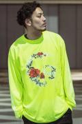 【予約商品】GoneR GR28LS002 Rose Arrange Skull L/S T-Shirts Safety Green