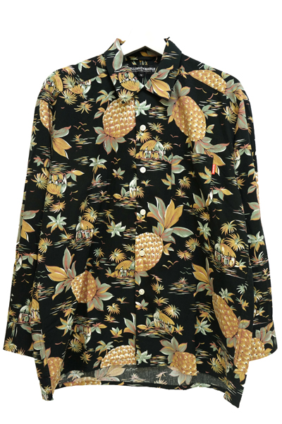 ROLLING CRADLE PINEAPPLE ALOHA BIG SHIRT Black