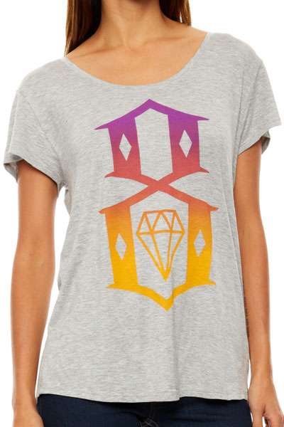 REBEL8 WOMENS GREY LOGO BOYFRIEND TEE