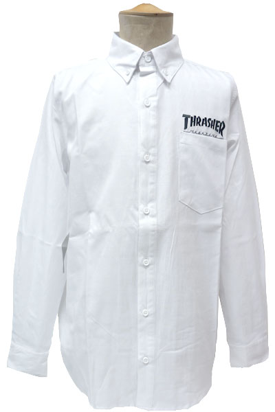 THRASHER MAG emb Oxford L/S SHIRTS WHT