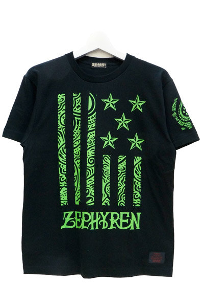 Zephyren(ゼファレン) S/S TEE -REBEL FLAG- BLACKxGREEN