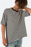 mnml(ミニマル) STRIPED DROP TEE BLACK/WHITE