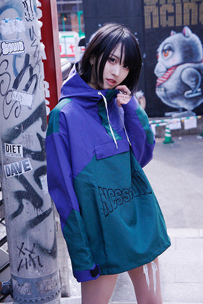 NOT COMMON SENSE 2TONE WASHER ANORAK JKT PURPLExGREEN
