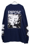 RIP DESIGN WORXX モザイクロゴ L/SポケットTシャツ NAVY