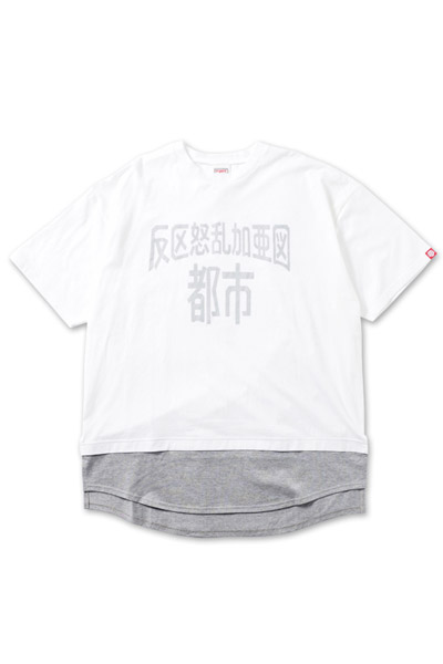 PUNK DRUNKERS (パンクドランカーズ) 重ね着風都市ロング丈TEE WHITE