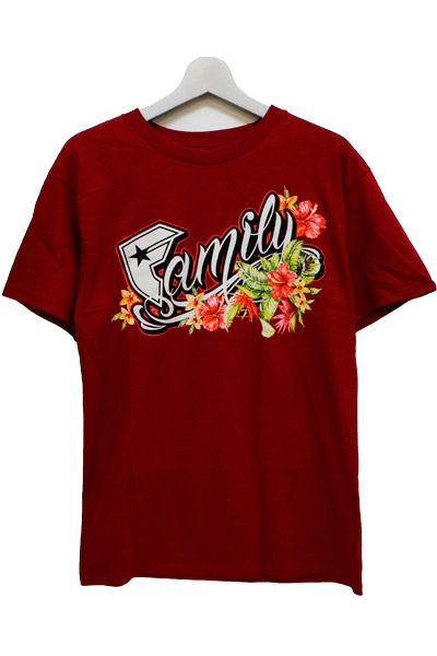 FAMOUS STARS AND STRAPS (フェイマス・スターズ・アンド・ストラップス) FLORAL F TEE BURGUNDY
