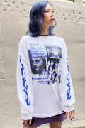 NOT COMMON SENSE FLAME L/S TEE WHITE