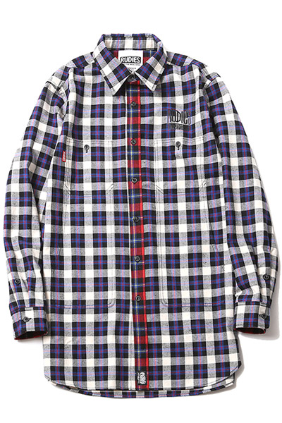 RUDIE'S DRAWING LONG SHIRTS BLUE CHECK