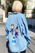 PUNK DRUNKERS [PDSxLAND by MILKBOY]ブラザーズデニムシャツ - LT.BLUE