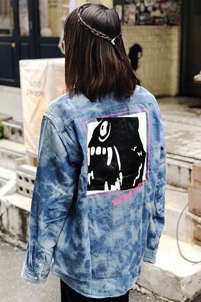 ROLLING CRADLE BIG SHOUT DENIM SHIRT / Bleach