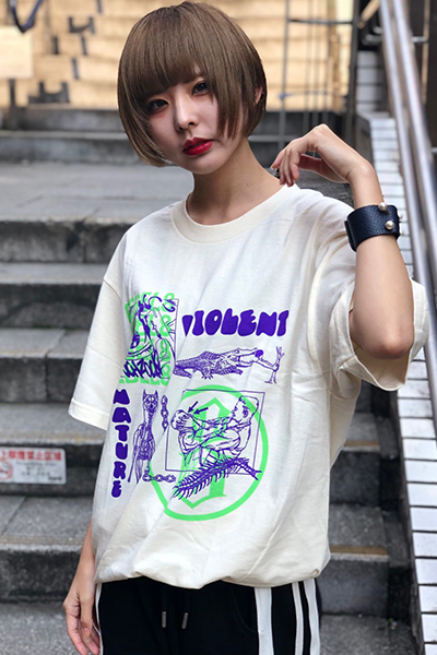 REBEL8 VIOLENT NATURE TEE CREAM