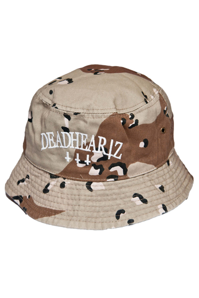 DEADHEARTZ EMBROIDERY BACKET HAT SAND CAMO