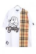 GALFY 182020 Check Blocking T-shirt WHITE