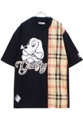 GALFY 182020 Check Blocking T-shirt BLACK