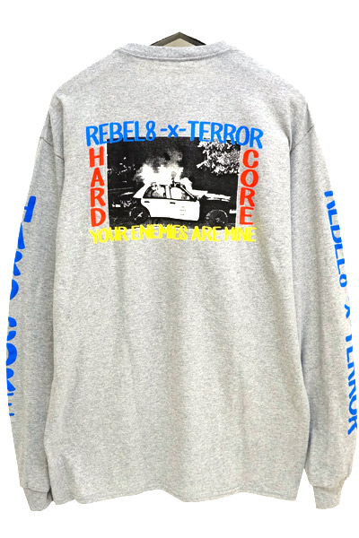 REBEL8 110040049  ENEMIES LS TEE FRONT GRY