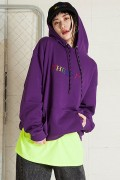 "LILWHITE(dot) LW-19SU-S01 ""THE END"" EMBROIDERY HOODIE PURPLE"