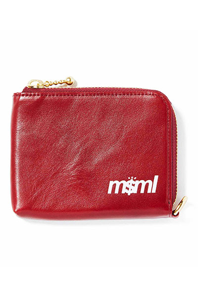 MUSIC SAVED MY LIFE (MSML) M1K1T-AC02 ZIP LEATHER WALLET RED
