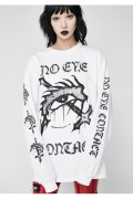DISTURBIA CLOTHING No Eye Contact Long Sleeve Tee White