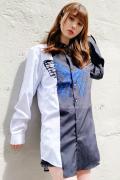 CIVARIZE【シヴァーライズ】バタフライ切り替えバイカラーシャツ Black