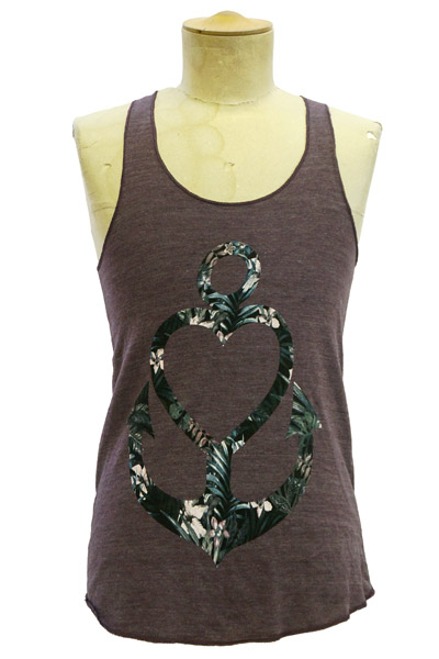 STAY SICK CLOTHING Floral Anchor Heart Eco-Eggplant - Girl's R
