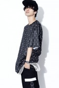 SILLENT FROM ME SHEARS -Patterned Short Sleeve- BLACK/WHITE