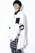 SILLENT FROM ME LAX -Hemline Half Sleeve Shirts- WHITE