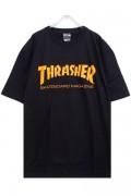 THRASHER TH8101 Mag LogoTee BLACK/ORANGE