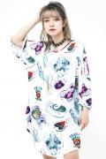 TRAVAS TOKYO【トラバストーキョー】アクリルキー総柄ラウンドビッグTシャツ White