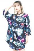 TRAVAS TOKYO【トラバストーキョー】アクリルキー総柄ラウンドビッグTシャツ Black